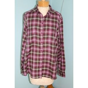 Eddie Bauer XL Purple Plaid Button Down Shirt